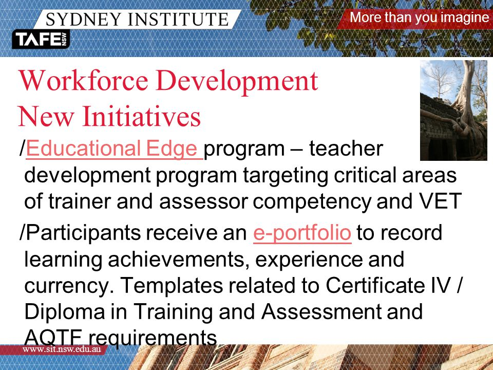 More than you imagine www.sit.nsw.edu.au Workforce Development New Initiatives /Educational Edge program – teacher development program targeting critical areas of trainer and assessor competency and VETEducational Edge /Participants receive an e-portfolio to record learning achievements, experience and currency.