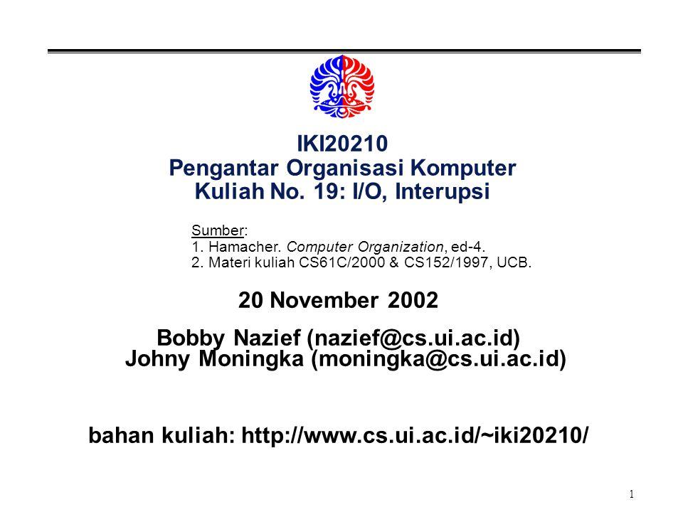 1 IKI20210 Pengantar Organisasi Komputer Kuliah No.