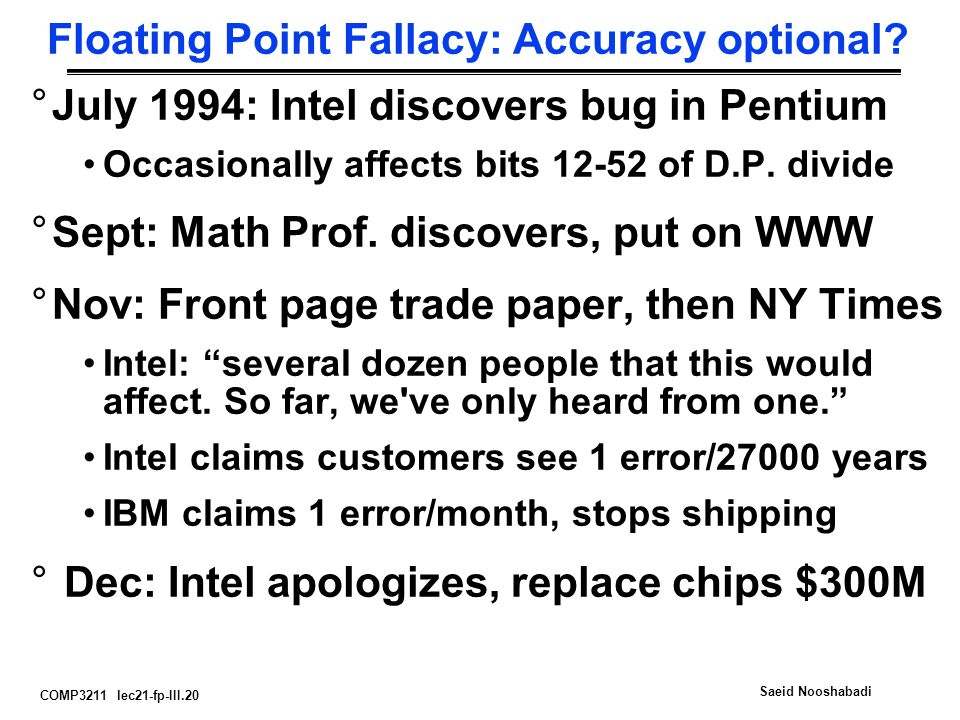 COMP3211 lec21-fp-III.20 Saeid Nooshabadi Floating Point Fallacy: Accuracy optional.