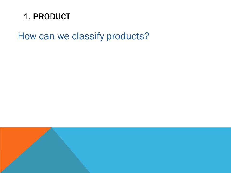 1. PRODUCT How can we classify products?