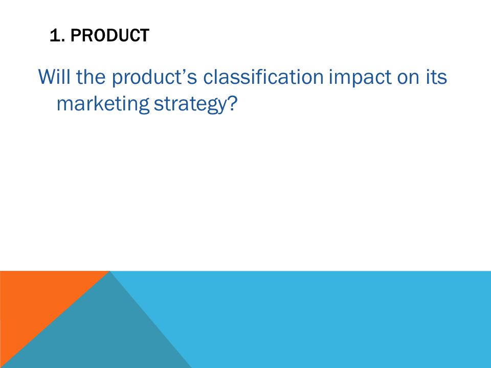 1. PRODUCT Will the product's classification impact on its marketing strategy?