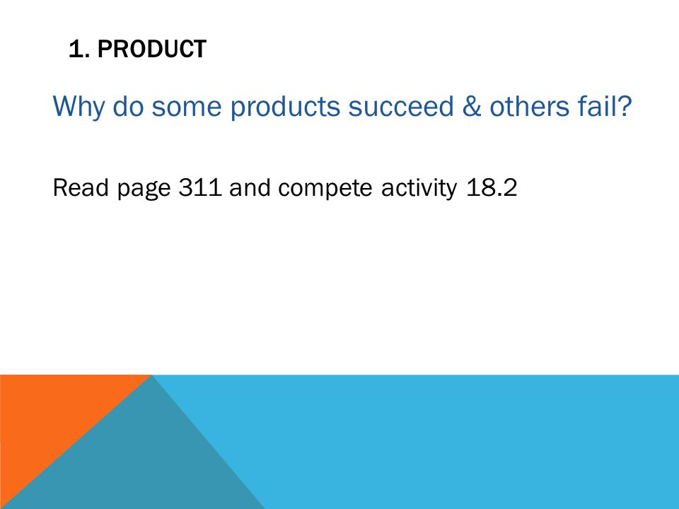 1. PRODUCT Why do some products succeed & others fail Read page 311 and compete activity 18.2