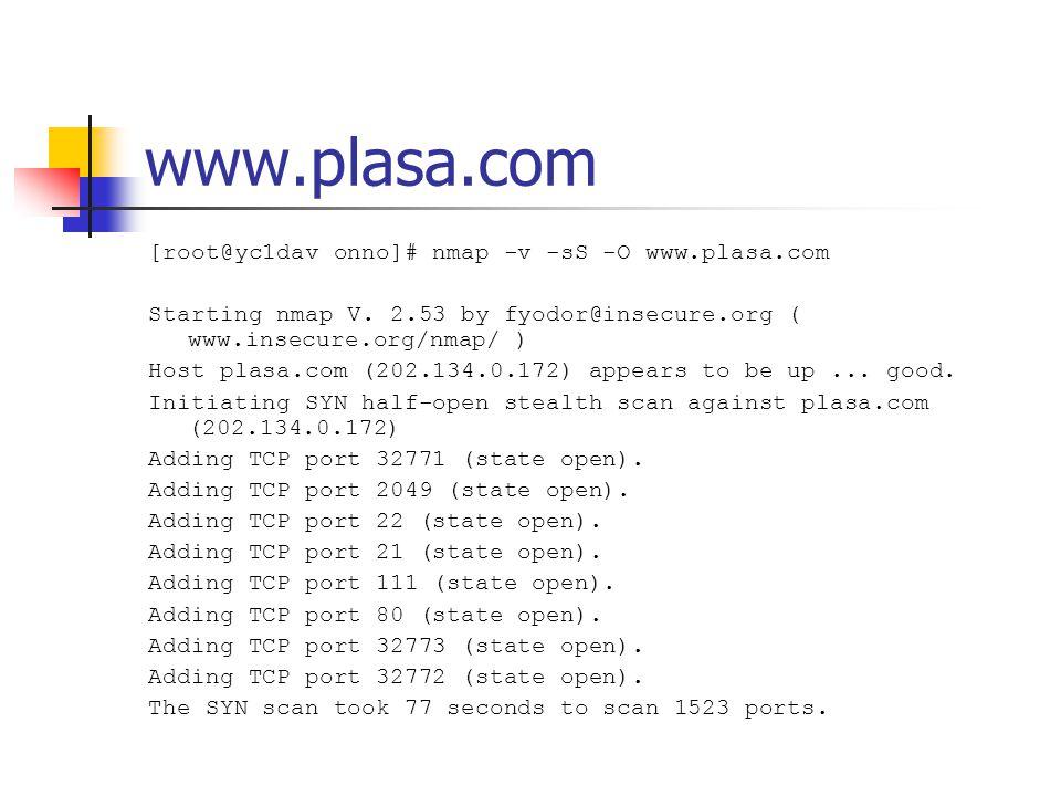 www.plasa.com [root@yc1dav onno]# nmap -v -sS -O www.plasa.com Starting nmap V.