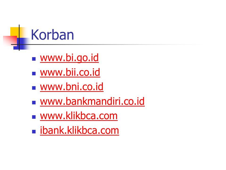 Korban www.bi.go.id www.bii.co.id www.bni.co.id www.bankmandiri.co.id www.klikbca.com ibank.klikbca.com