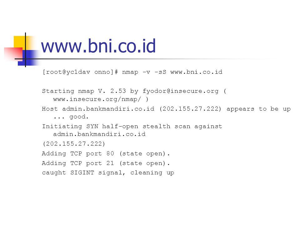 www.bii.co.id [root@yc1dav onno]# nmap -v -sS www.bii.co.id Starting nmap V.