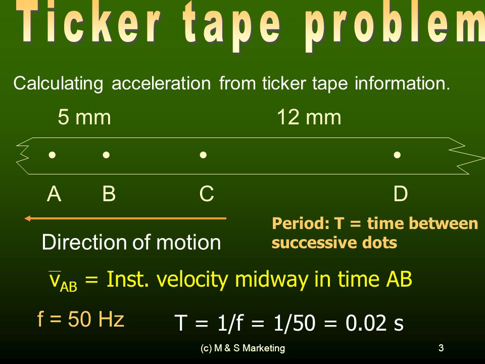 (c) M & S Marketing3 Calculating acceleration from ticker tape information.
