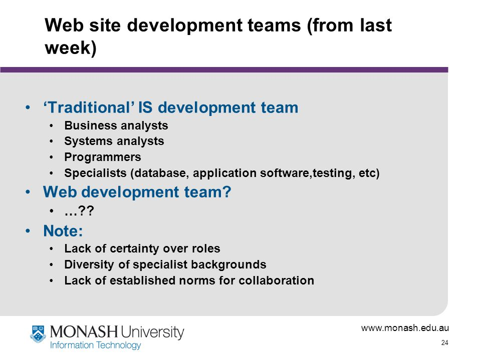 www.monash.edu.au 24 Web site development teams (from last week) 'Traditional' IS development team Business analysts Systems analysts Programmers Specialists (database, application software,testing, etc) Web development team.