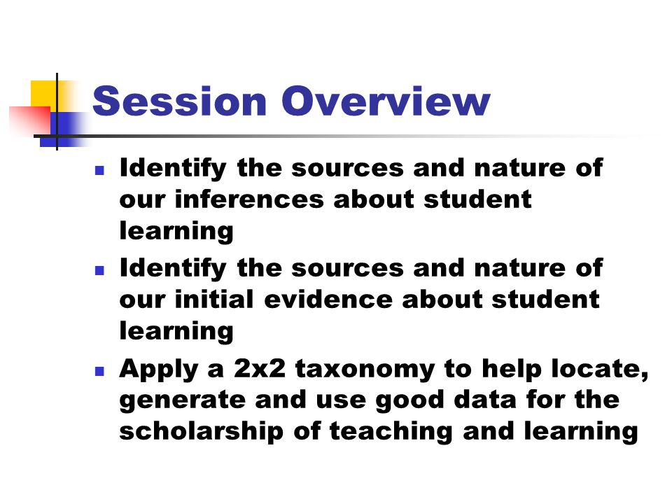 Session Overview Identify the sources and nature of our inferences about student learning Identify the sources and nature of our initial evidence about student learning Apply a 2x2 taxonomy to help locate, generate and use good data for the scholarship of teaching and learning