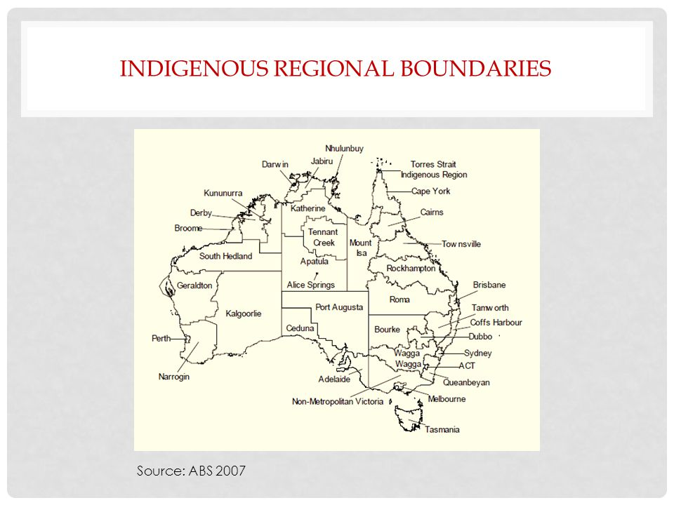 INDIGENOUS REGIONAL BOUNDARIES Source: ABS 2007