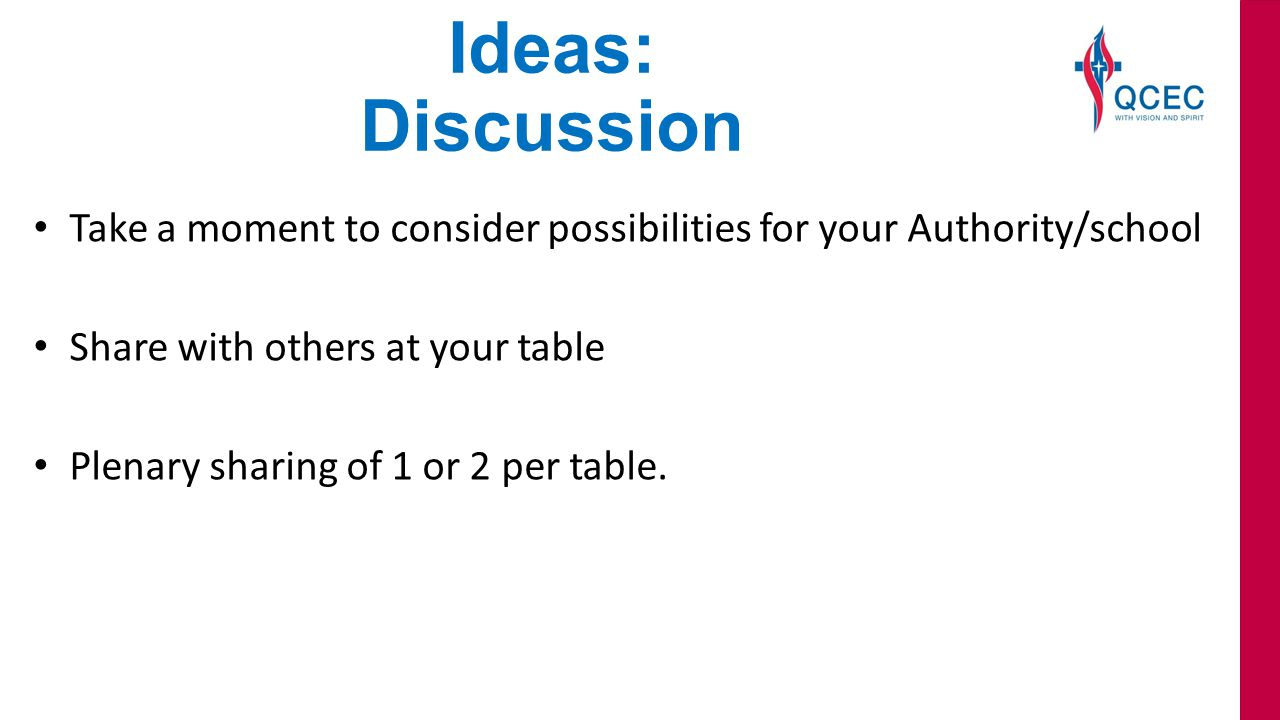 Ideas: Discussion Take a moment to consider possibilities for your Authority/school Share with others at your table Plenary sharing of 1 or 2 per table.