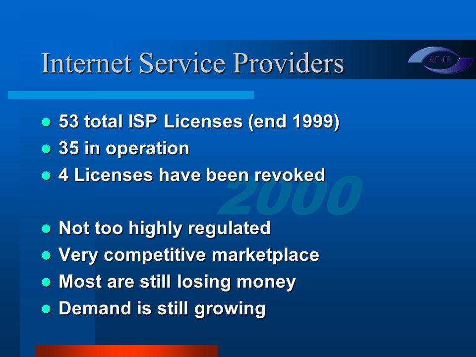 2000 Agenda Internet Service Providers Internet Service Providers Reach & Interconnection Reach & Interconnection Growth & Capacity Growth & Capacity Projects Projects