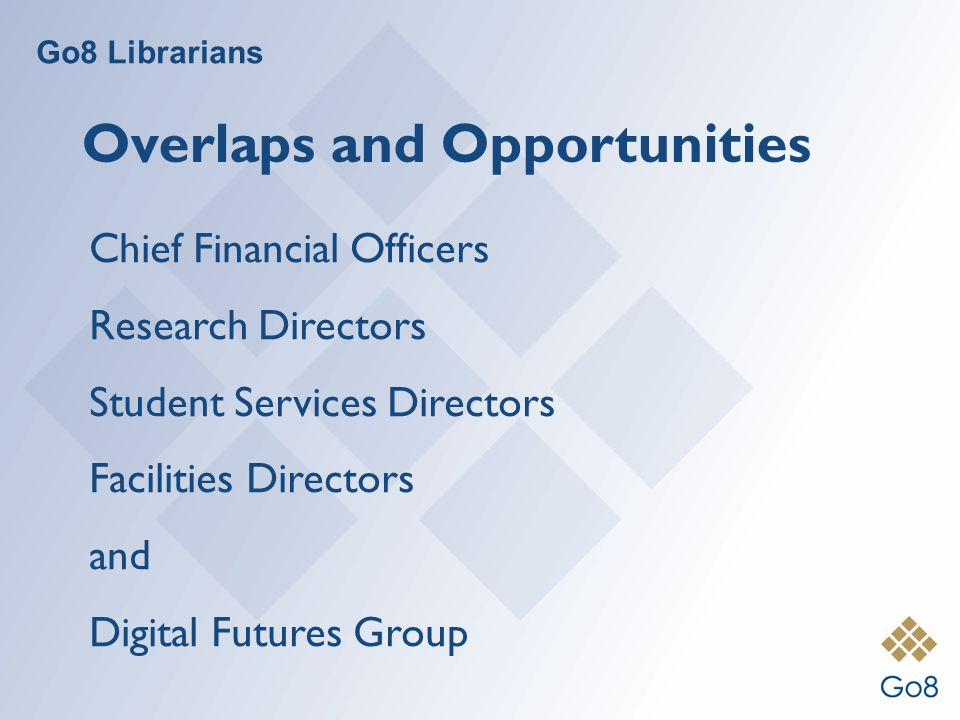 Go8 Librarians Overlaps and Opportunities Chief Financial Officers Research Directors Student Services Directors Facilities Directors and Digital Futures Group