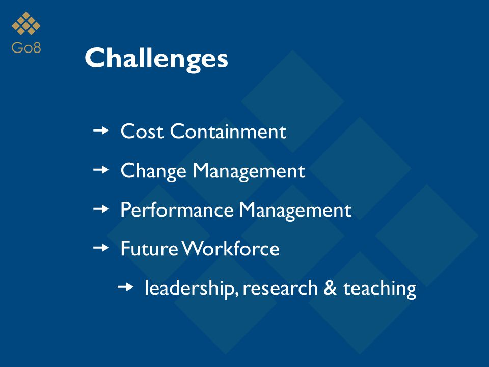 Challenges  Cost Containment  Change Management  Performance Management  Future Workforce  leadership, research & teaching
