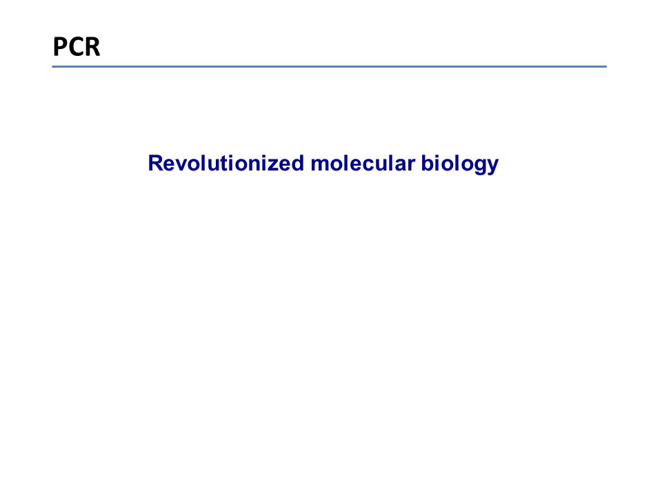 PCR Revolutionized molecular biology