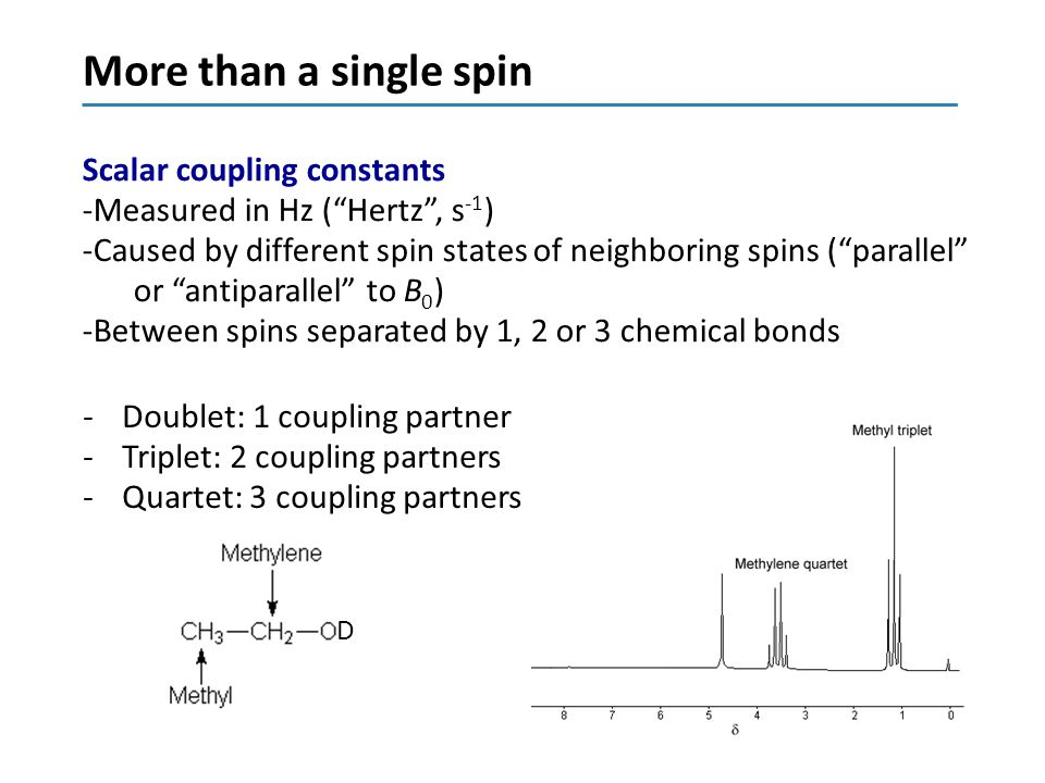 Summary I NMR owes its success to -Long life of the excited magnetisation (seconds) -Low energy (400-1000 MHz = radiofrequency) -Only nuclear spins in a magnetic field can absorb such small energy quanta -High abundance of 1 H (99.985%) -Sensitivity to the chemical environment Drawbacks of NMR -Relatively low sensitivity -Expensive magnets -Hard to become an expert