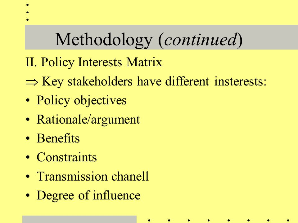 Methodology (continued) II. Policy Interests Matrix  Key stakeholders have different insterests: Policy objectives Rationale/argument Benefits Constr