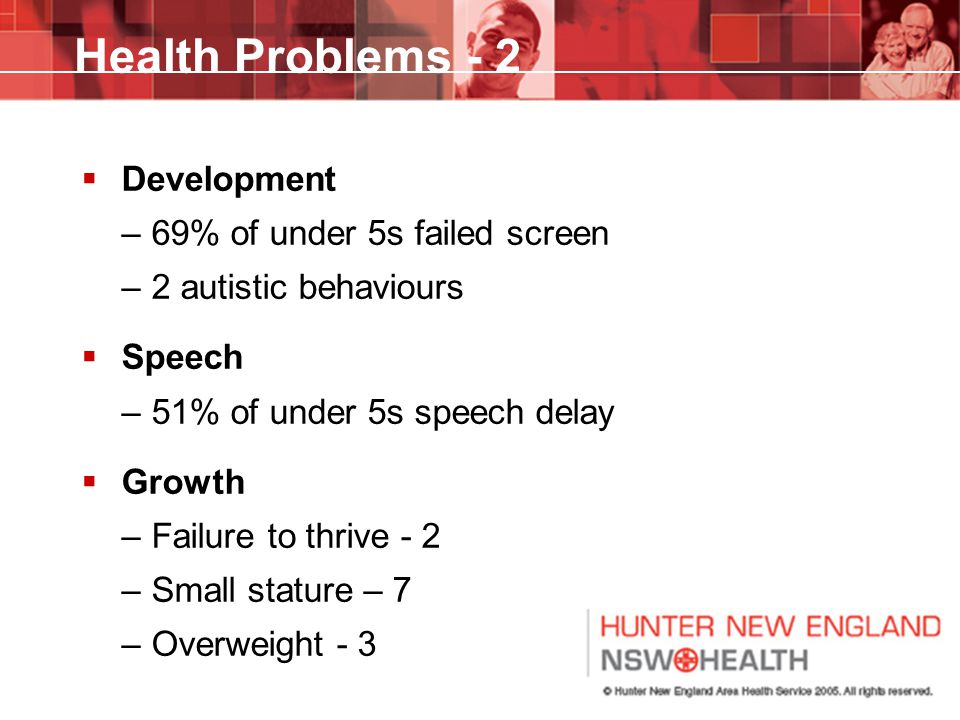 Health Problems - 2  Development –69% of under 5s failed screen –2 autistic behaviours  Speech –51% of under 5s speech delay  Growth –Failure to th