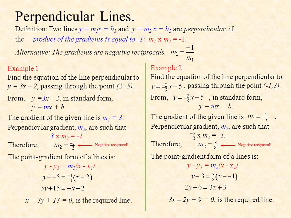 Example 3 Find the equation of the line perpendicular to 3x + 2y – 6 = 0, through the point (3,-5).