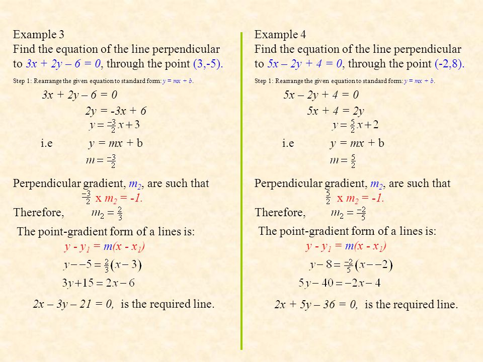 Exercise 2 : Find the equation of the line perpendicular to the given line passing through the given point.