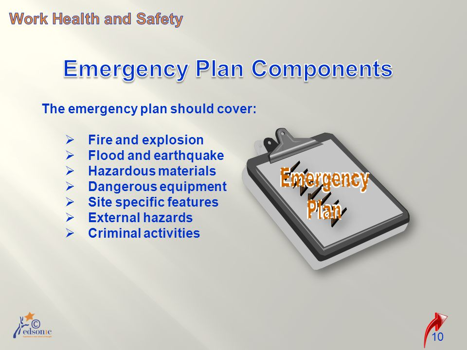 10 The emergency plan should cover:  Fire and explosion  Flood and earthquake  Hazardous materials  Dangerous equipment  Site specific features  External hazards  Criminal activities