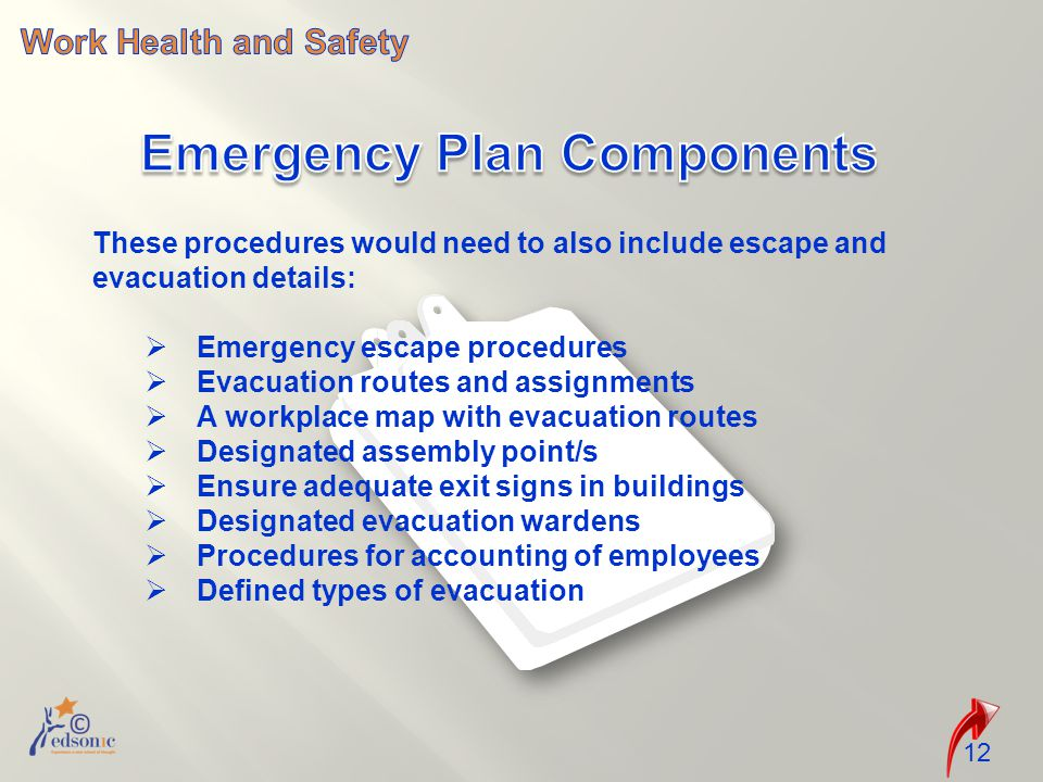 12 These procedures would need to also include escape and evacuation details:  Emergency escape procedures  Evacuation routes and assignments  A workplace map with evacuation routes  Designated assembly point/s  Ensure adequate exit signs in buildings  Designated evacuation wardens  Procedures for accounting of employees  Defined types of evacuation