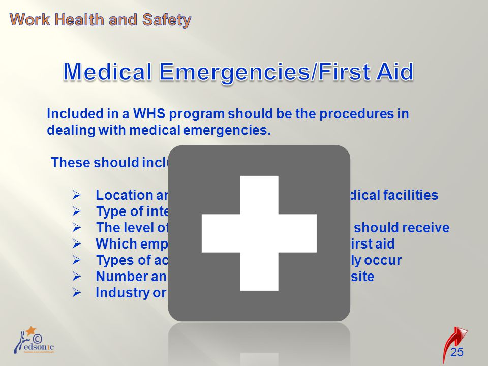 Included in a WHS program should be the procedures in dealing with medical emergencies.