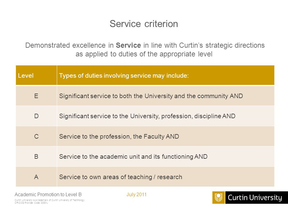 Curtin University is a trademark of Curtin University of Technology CRICOS Provider Code 00301J July 2011Academic Promotion to Level B Service criteri