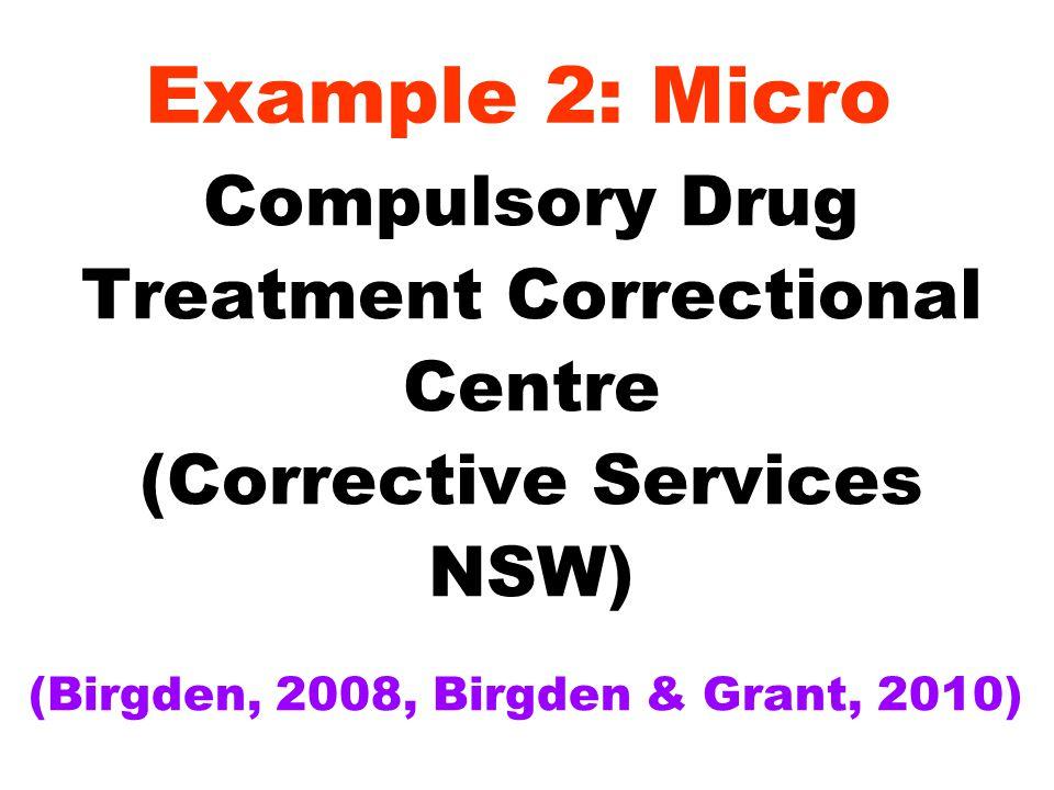 Example 2: Micro Compulsory Drug Treatment Correctional Centre (Corrective Services NSW) (Birgden, 2008, Birgden & Grant, 2010)