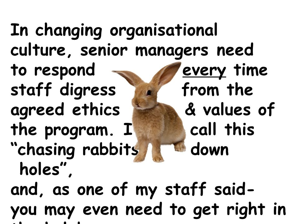 In changing organisational culture, senior managers need to respond every time staff digress from the agreed ethics & values of the program.