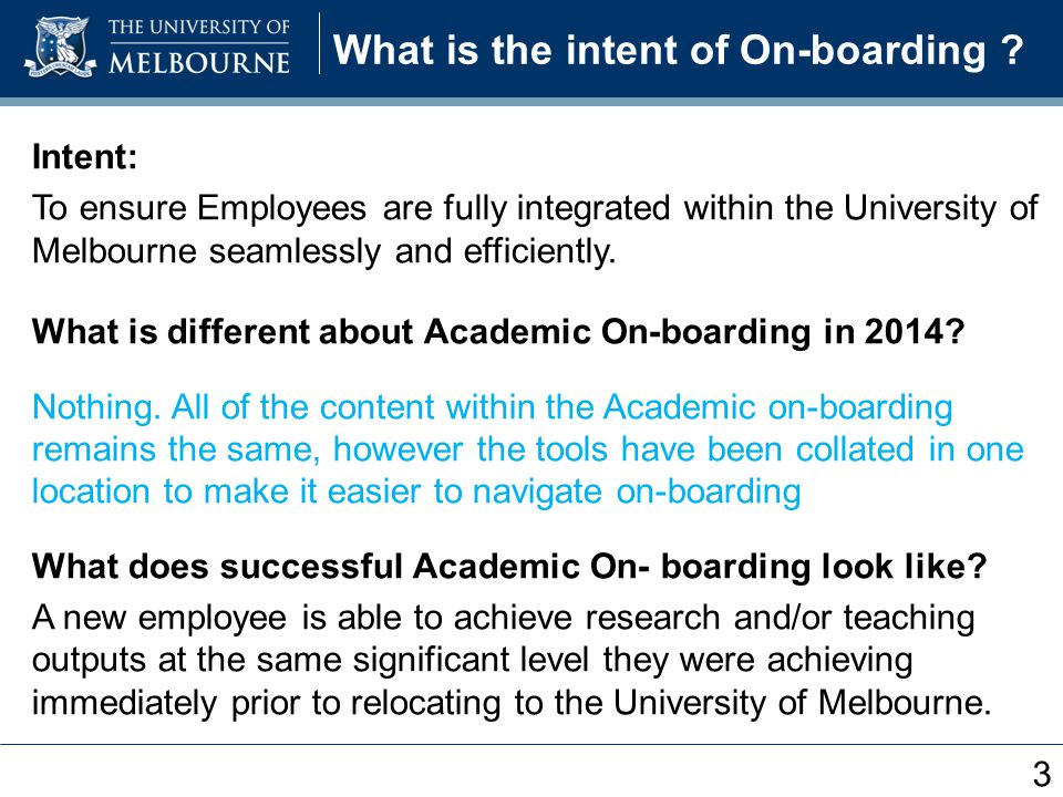 What is the intent of On-boarding .