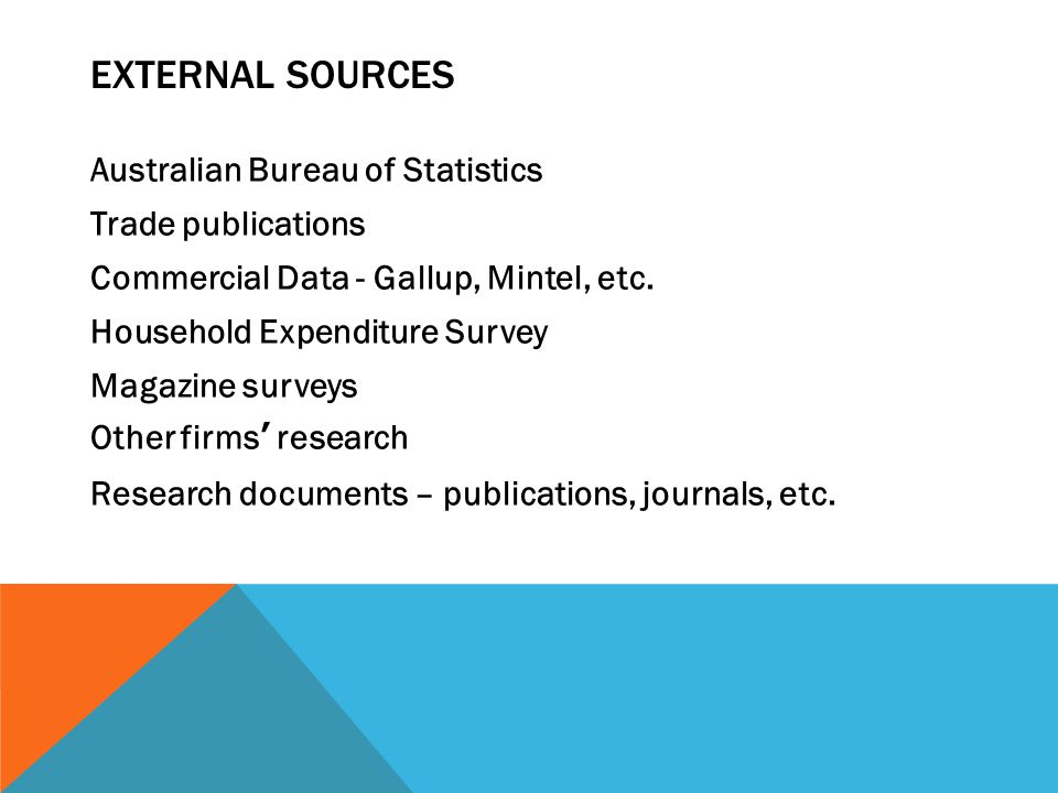 EXTERNAL SOURCES Australian Bureau of Statistics Trade publications Commercial Data - Gallup, Mintel, etc.
