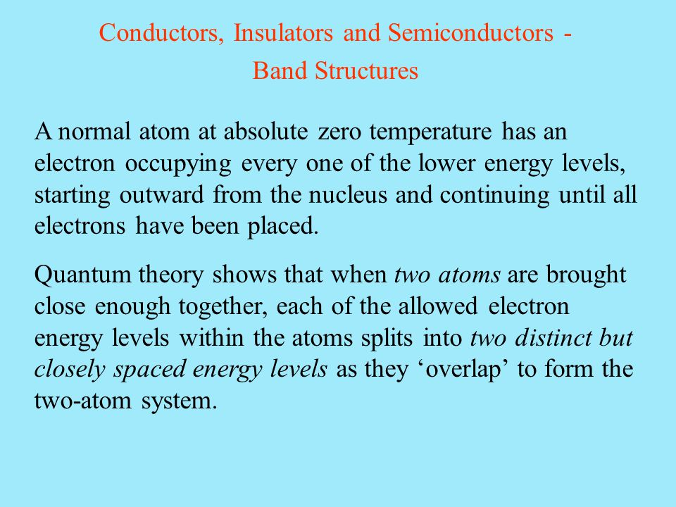 A normal atom at absolute zero temperature has an electron occupying every one of the lower energy levels, starting outward from the nucleus and conti