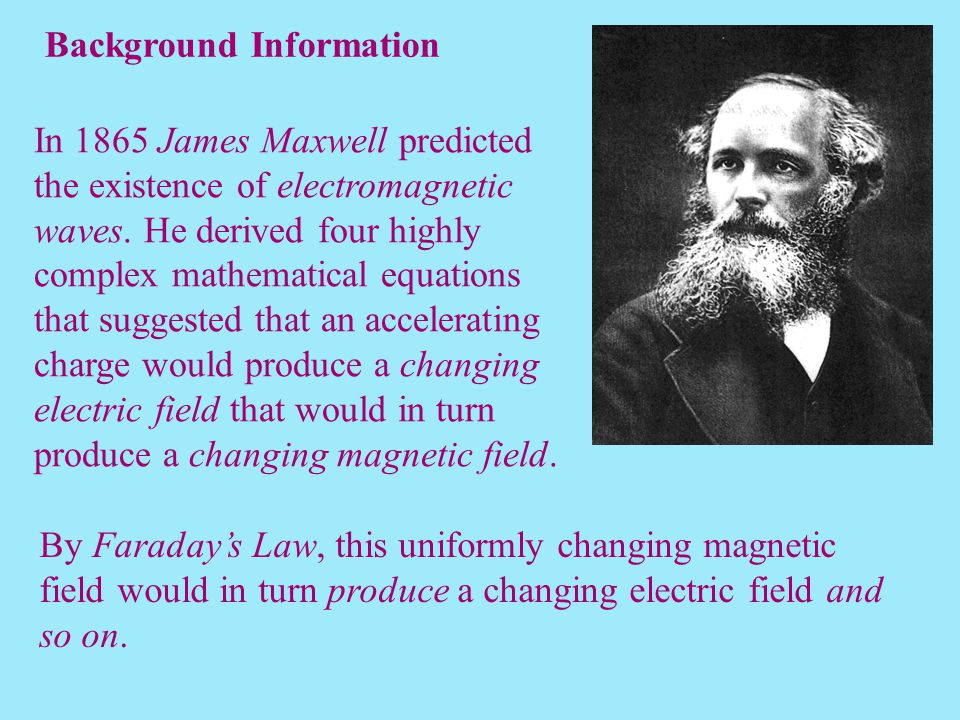 In 1865 James Maxwell predicted the existence of electromagnetic waves. He derived four highly complex mathematical equations that suggested that an a