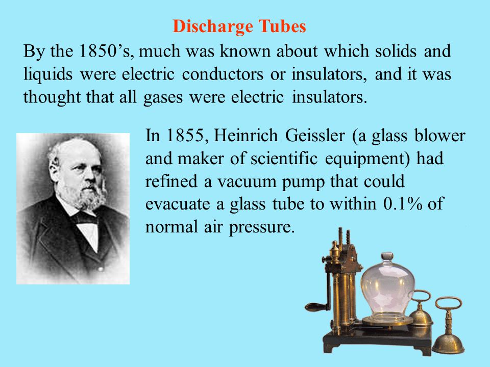 By the 1850's, much was known about which solids and liquids were electric conductors or insulators, and it was thought that all gases were electric i