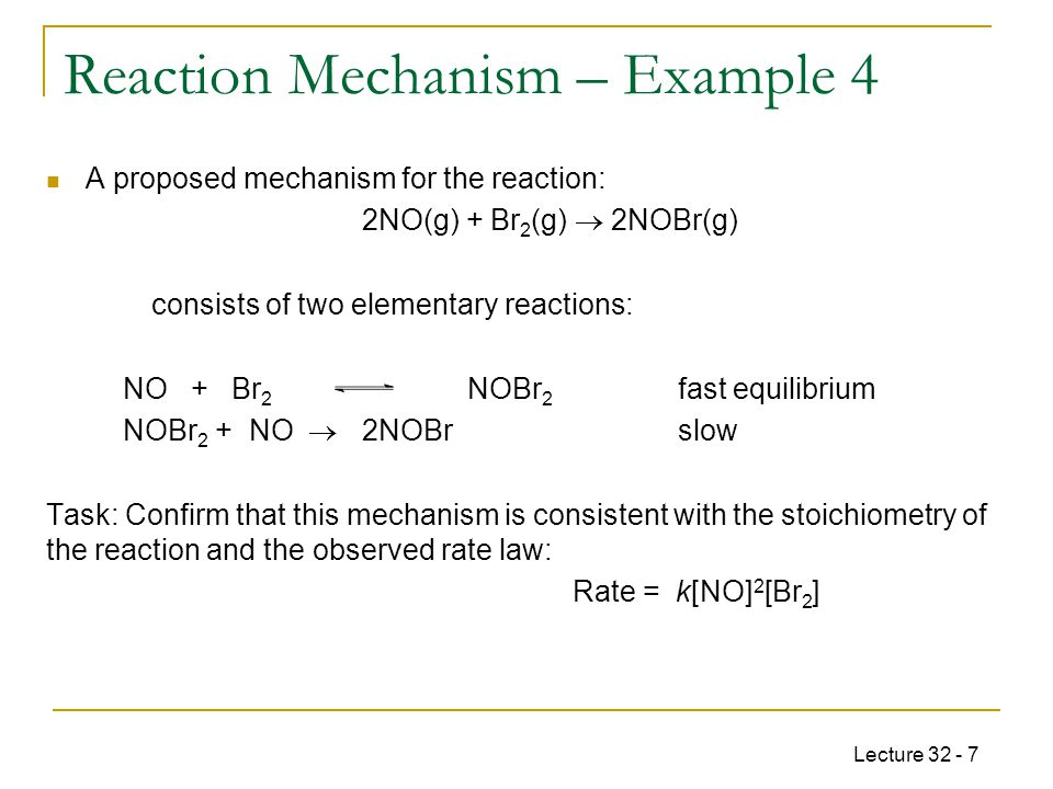 Lecture 32 - 18 For the reaction: 2 NO 2 (g)  2NO(g) + O 2 (g) The rate constant k = 1.00 · 10 -10 s -1 at 300 K and the activation energy E a = 111 kJ mol -1.