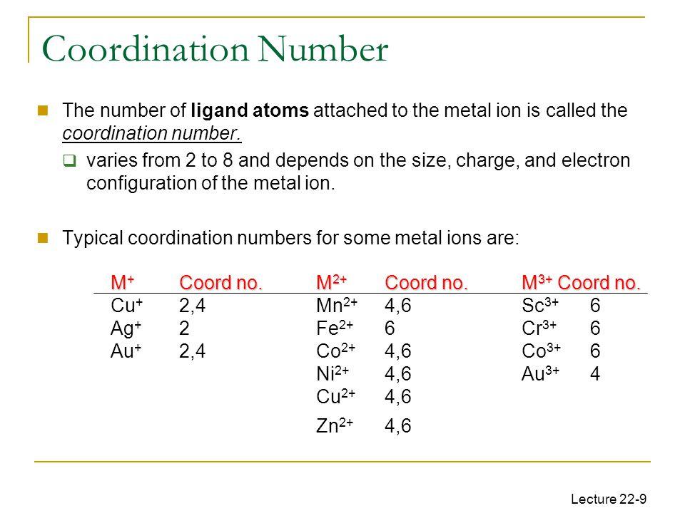 Lecture 22-9 M + Coord no.M 2+ Coord no.M 3+ Coord no.