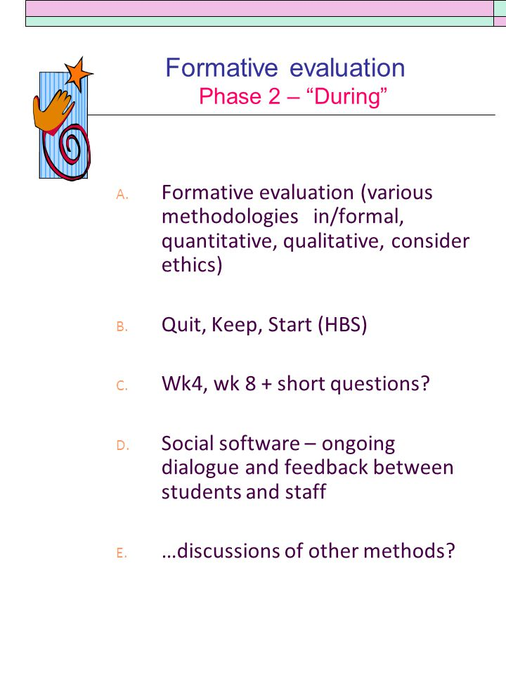 Formative evaluation Phase 2 – During A.