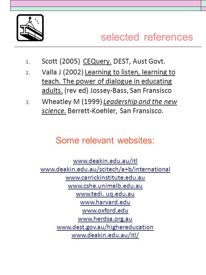 selected references 1. Scott (2005) CEQuery. DEST, Aust Govt.
