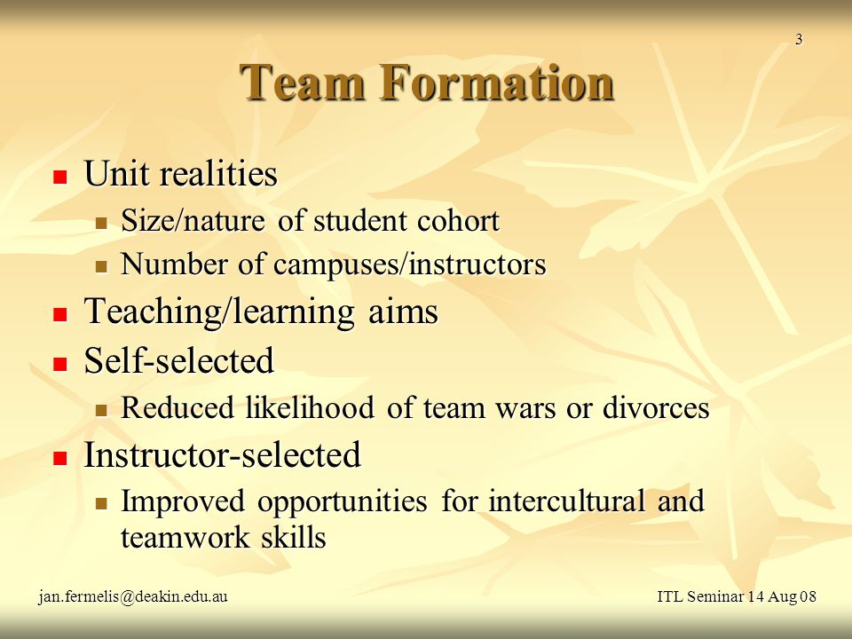 Team Formation Unit realities Unit realities Size/nature of student cohort Size/nature of student cohort Number of campuses/instructors Number of campuses/instructors Teaching/learning aims Teaching/learning aims Self-selected Self-selected Reduced likelihood of team wars or divorces Reduced likelihood of team wars or divorces Instructor-selected Instructor-selected Improved opportunities for intercultural and teamwork skills Improved opportunities for intercultural and teamwork skills ITL Seminar 14 Aug 08jan.fermelis@deakin.edu.au 3
