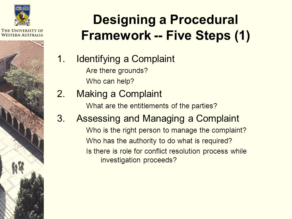 Designing a Procedural Framework -- Five Steps (1) 1.Identifying a Complaint Are there grounds.
