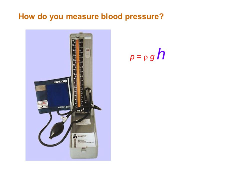 How do you measure blood pressure p =  g h