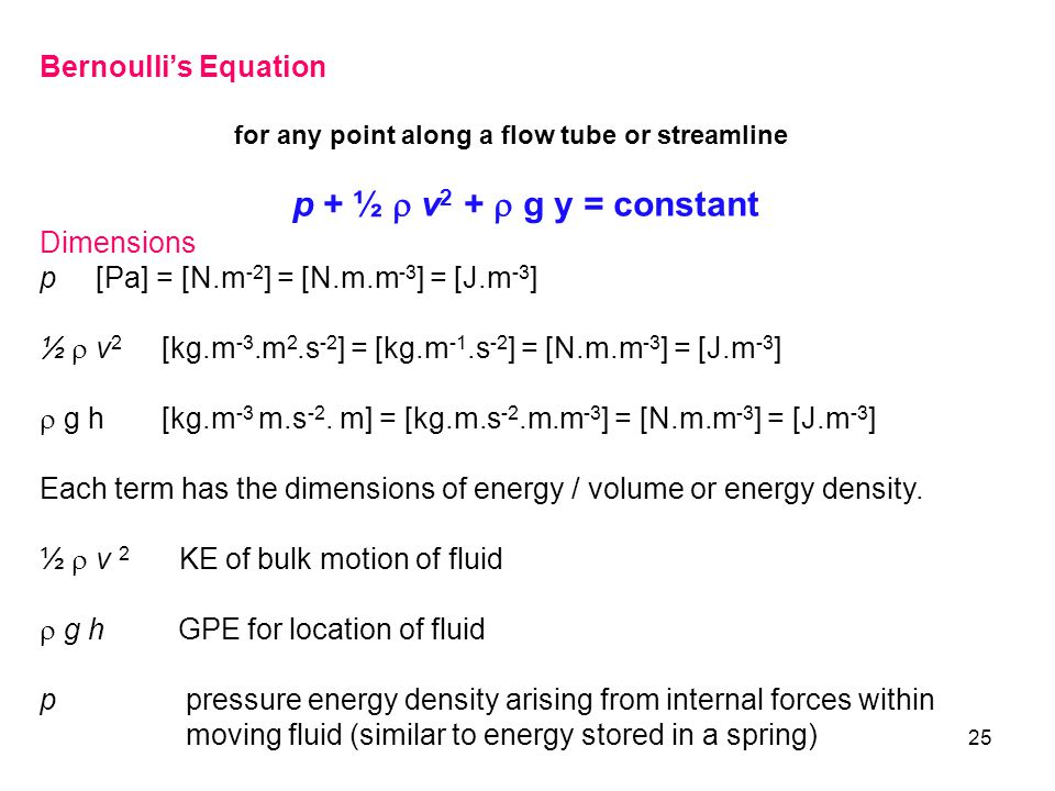 25 Bernoulli's Equation for any point along a flow tube or streamline p + ½  v 2 +  g y = constant Dimensions p [Pa] = [N.m -2 ] = [N.m.m -3 ] = [J.