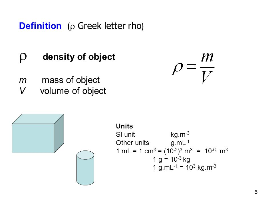 5 Definition (  Greek letter rho )  density of object m mass of object V volume of object Units SI unit kg.m -3 Other unitsg.mL -1 1 mL = 1 cm 3 = (10 -2 ) 3 m 3 = m 3 1 g = kg 1 g.mL -1 = 10 3 kg.m -3