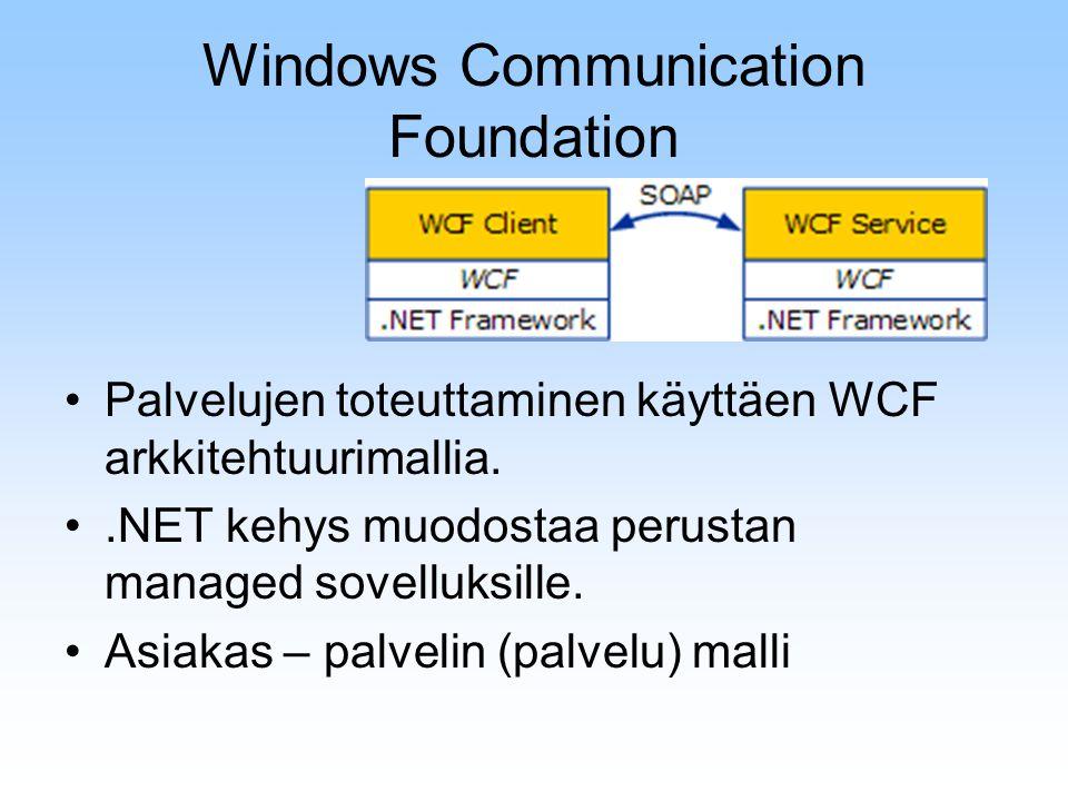 Windows Communication Foundation Palvelujen toteuttaminen käyttäen WCF arkkitehtuurimallia..NET kehys muodostaa perustan managed sovelluksille. Asiaka