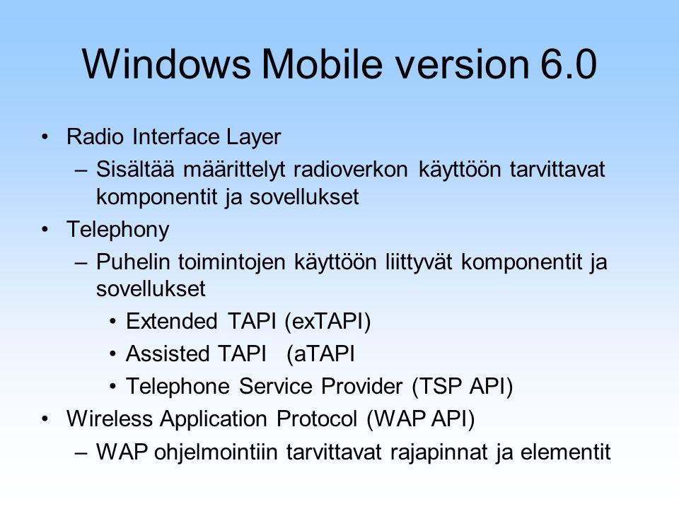 Radio Interface Layer –Sisältää määrittelyt radioverkon käyttöön tarvittavat komponentit ja sovellukset Telephony –Puhelin toimintojen käyttöön liittyvät komponentit ja sovellukset Extended TAPI (exTAPI) Assisted TAPI (aTAPI Telephone Service Provider (TSP API) Wireless Application Protocol (WAP API) –WAP ohjelmointiin tarvittavat rajapinnat ja elementit