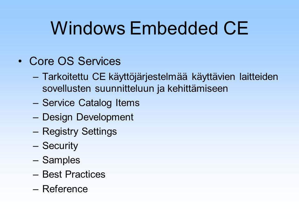 Windows Embedded CE Core OS Services –Tarkoitettu CE käyttöjärjestelmää käyttävien laitteiden sovellusten suunnitteluun ja kehittämiseen –Service Catalog Items –Design Development –Registry Settings –Security –Samples –Best Practices –Reference