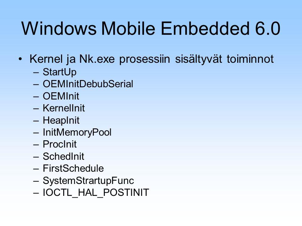 Windows Mobile Embedded 6.0 Kernel ja Nk.exe prosessiin sisältyvät toiminnot –StartUp –OEMInitDebubSerial –OEMInit –KernelInit –HeapInit –InitMemoryPool –ProcInit –SchedInit –FirstSchedule –SystemStrartupFunc –IOCTL_HAL_POSTINIT
