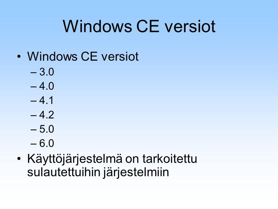 Windows CE versiot –3.0 –4.0 –4.1 –4.2 –5.0 –6.0 Käyttöjärjestelmä on tarkoitettu sulautettuihin järjestelmiin