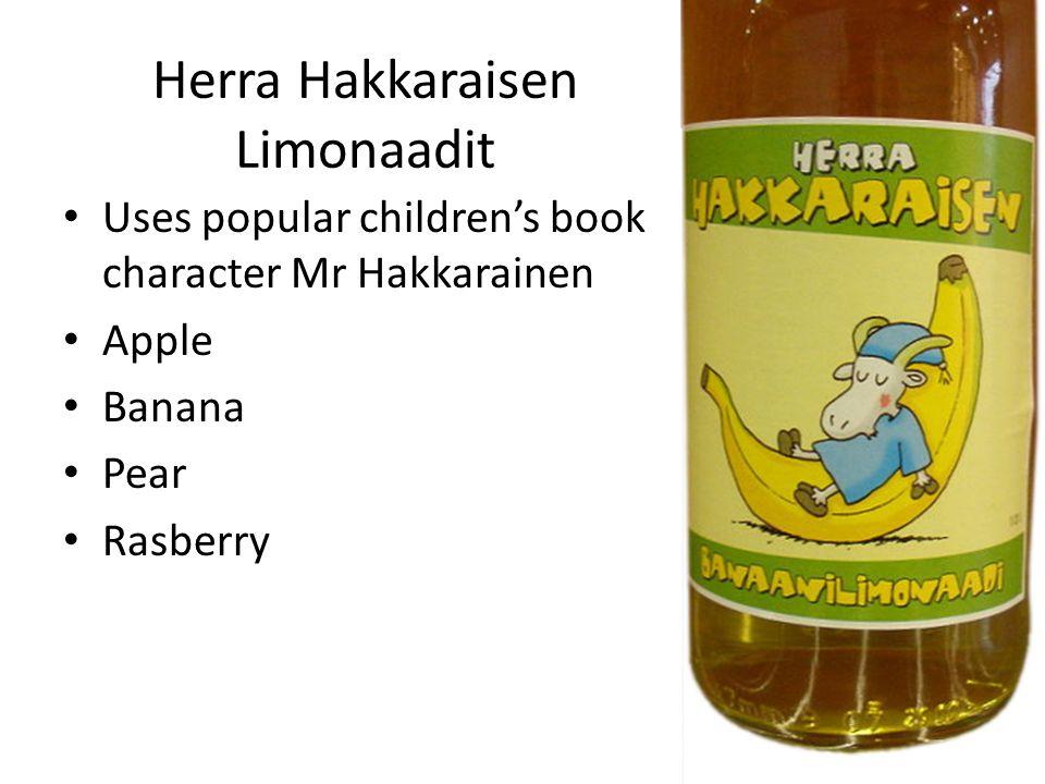 Herra Hakkaraisen Limonaadit Uses popular children's book character Mr Hakkarainen Apple Banana Pear Rasberry