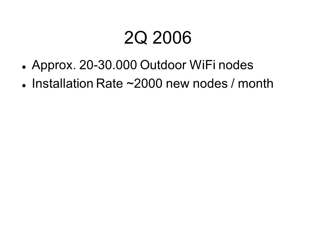 2Q 2006 Approx. 20-30.000 Outdoor WiFi nodes Installation Rate ~2000 new nodes / month